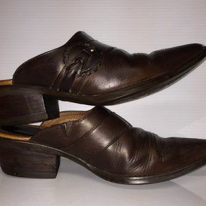 Ariat 6 brown western leather pointed toe mules